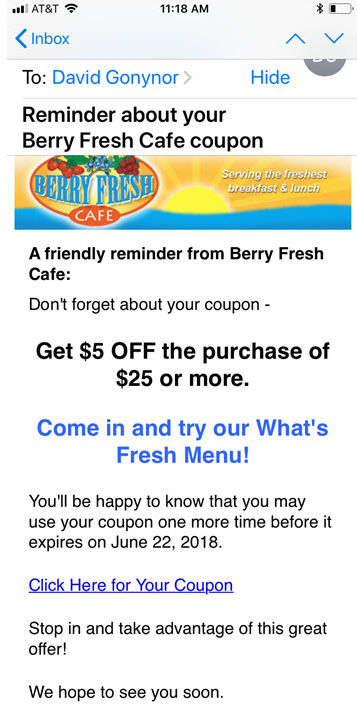 Digital coupon reminder email