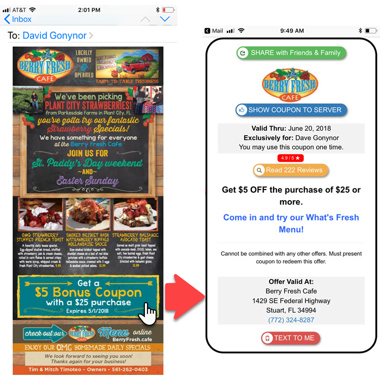 Emailing digital coupons